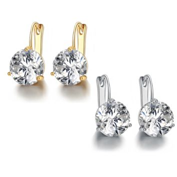 Martini Set 6.8 Carat Zirconia Solitaire 18K Gold Plated Earrings for Women lightweight, suitable for everyday wear