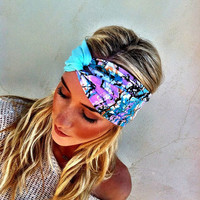 Turband Stretchy Workout Headband Two color Minty Aqua & Lavender Black Scribble