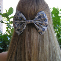 large hair bow for women and teens, french barrette,khaki backround with blue flowers bow, girls hair bows, hiar bows for teens