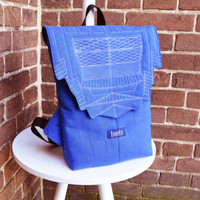 Backpack unisex blue hipster backpack rucksack cycling bag everyday small mini backpack Zurichtoren geometric simple minimalist backpack