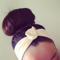 Light Beige Dolly Bow Headband