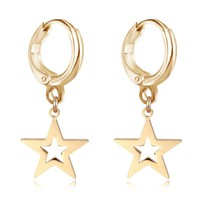 GEOMEE 1Pair Pendientes Star Hoop Earring for Womens Fashion Romantic Geometry Hanging Simple Earrings Brincos Femme Jewelry