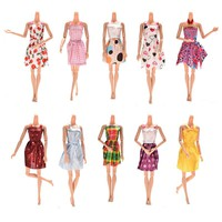 Mixed Styles 10PCS  Handmade for Barbie Dress Mini Doll Dress for Barbie Dolls Party Slim Dresses Clothing Accessories