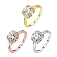 18K Gold-Plated Halo Ring Made with Swarovski Elements