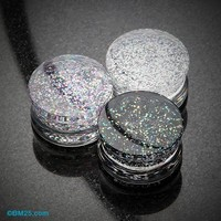 Ultra Shine Glittered Double Flared Acrylic Ear Gauge Plug