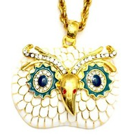 Snowy White Owl Necklace Vintage Crystal Blue Eyes ND04 Charm Retro Bird Pendant Fashion Jewelry