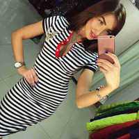 Sexy  Summer Women's Casual Straight Long Striped Dress