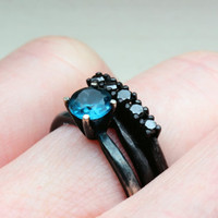 5mm London Blue Topaz and Black Diamond Wedding Ring Set in Oxidized Sterling Custom Made to Order in Your Size