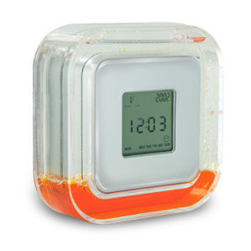 4 in 1 Liquid Cube Desk Clock with Calendar & Alarm