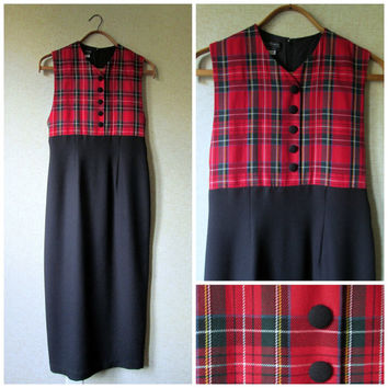 Long Dress sleeveless sheath jumper empire waist black dress red plaid vintage 80s 90s women size 6 small Cynthia Howie semi formal holiday