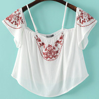 White Cold Shoulder Embroidery Crop Blouse