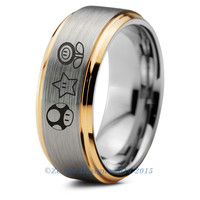 Super Mario Power Ups Inspired Tungsten Wedding Band Ring Mens Womens Beveled Yellow Gold Yoshi Ring Anniversary Engagement ALL Sizes Available