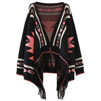 Fringed Geo Knit Cardigan