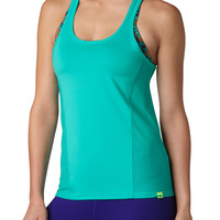 Mesh Back And Side Racerback Tank - Aqua Crush