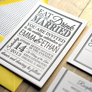 Emma Suite - Printable Wedding Invitation and RSVP -  Eat, Drink, and Be Married