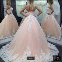 Fashion Ball Gown Style Lace Appliqued formal Corset Bodice prom Dress Plus Size Women prom Gowns 2016