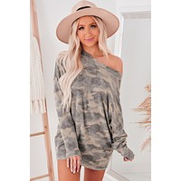 """Cozy In Camo"" Brushed Fleece Tunic Top (Camo)"