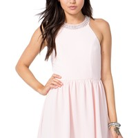 Pearl Trim Halter Flare Dress