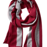Banana Republic Mens Boiled Wool Stripe Scarf Size One Size - Red