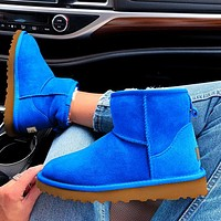 """UGG"" Women Male Fashion Wool Snow Boots  Warm shoes Sapphire blue"