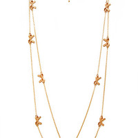 FOREVER 21 Layered Bow Necklace Peach/Gold One