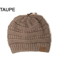 CC Cable Knit Beanie: Taupe