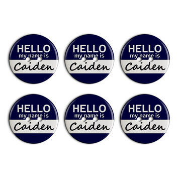 Caiden Hello My Name Is Plastic Resin Button Set of 6