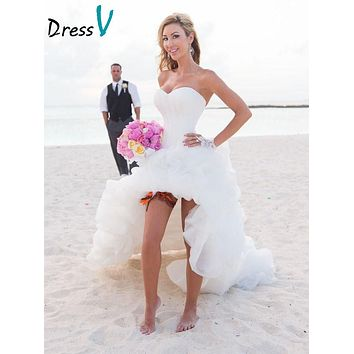 Dressv Beach Wedding Dresses 2017 High Front Low Back Puffy Lovely Wedding Party Dresses white Bridal Gown beach Wedding Dresses