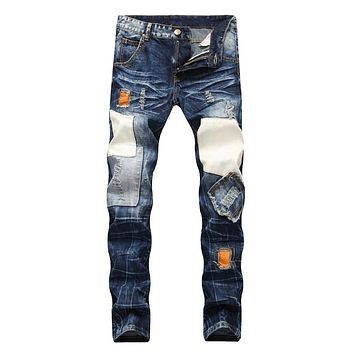 High Quality Men Jeans Hole Ripped  Destroyed Jean Homme Masculino Fashion Design Men's Jean Slim Jeans For Male Pants