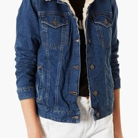 Topshop Moto Fleece Lined Denim Jacket
