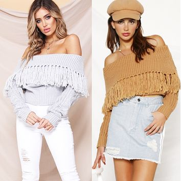 New hot sale one-shoulder fringe strapless sexy sweater women