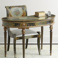 Cerise Floral Desk and Chair