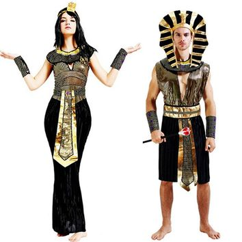 Halloween Exotic Egyptian Pharaoh Costumes For Men Adult Costume Women Cleopatra Princess Cosplay Masquerade Party
