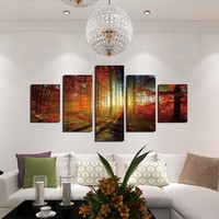 Unframed 5 Panel Five Landscape Pictures Of Maple Forest Canvas Oil Painting Wall Art