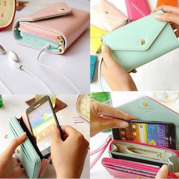 New Multifunctional Envelope Wallet Purse Phone Case for Iphone 5 Galaxy S3 S4