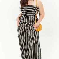 Plus Size Smocked Striped Jumpsuit