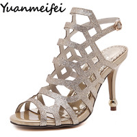 Yuanmeifei Summer Women Sandals High Heel Stiletto Pumps Woman Peep Toe Glitter Sequined Gladiator Sandals Wedding Bridal Shoes