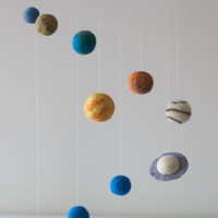 Solar System Nursery Mobile -Solar System Baby Mobile - Solar System Nursery Decor-Planets Nursery Decor -Needle Felted Mobile- Space Mobile