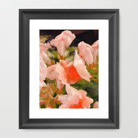 Flower Abstract Pink and Peach Snapdragons  Framed Art Print by Jen Warmuth Art And Design