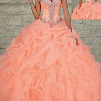 Sexy Organza Beaded Long Prom Ball Gown Quinceanera Wedding Dresses Custom Size