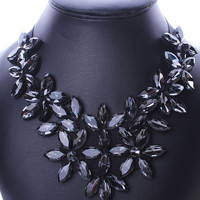 Black Crystal Flower Statement Collar Nacklace