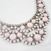 The Erin Necklace - Hand Painted Vintage 1950s Pale Pink Rhinestone Necklace