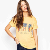 Yellow NYC US Flag Print T-Shirt