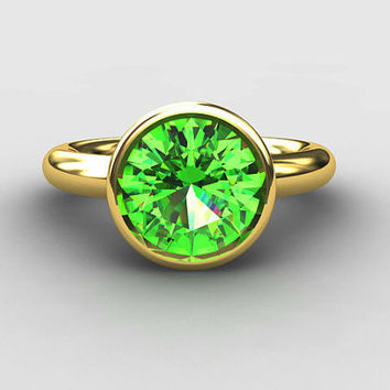 Yellow Gold engagement, Peridot, bezel, unique, engagement ring, gold wedding, Peridot engagement ring,  Green, yellow gold, solitaire, ring