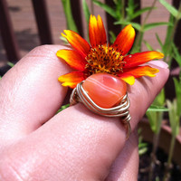 Carnelian Stone Wrapped Wire Ring, Brass Wire Ring, Orange Carnelian Ring, Striped Carnelian Ring, Carnelian Hippie Ring, Large Stone Ring