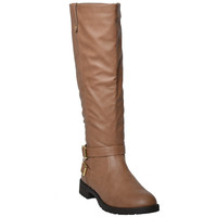 Womens Knee High Boots Double Adjustable Ankle Straps Zipper Closure Shoes Tan