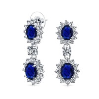 Blue Oval CZ Statement Dangle Earrings  Simulated Sapphire Silver Plated