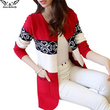 2017 high quality fall and winter cardigan sweater Knitted Cotton Patchwork Retro pocket Fashion Leisure cardigan women
