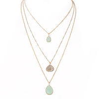 Precious Layered Stone Necklace In Mint