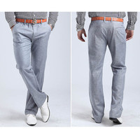 Flat Front Heathered Linen Trousers